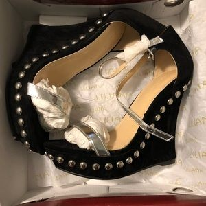 Liliana Black and Silver Wedges